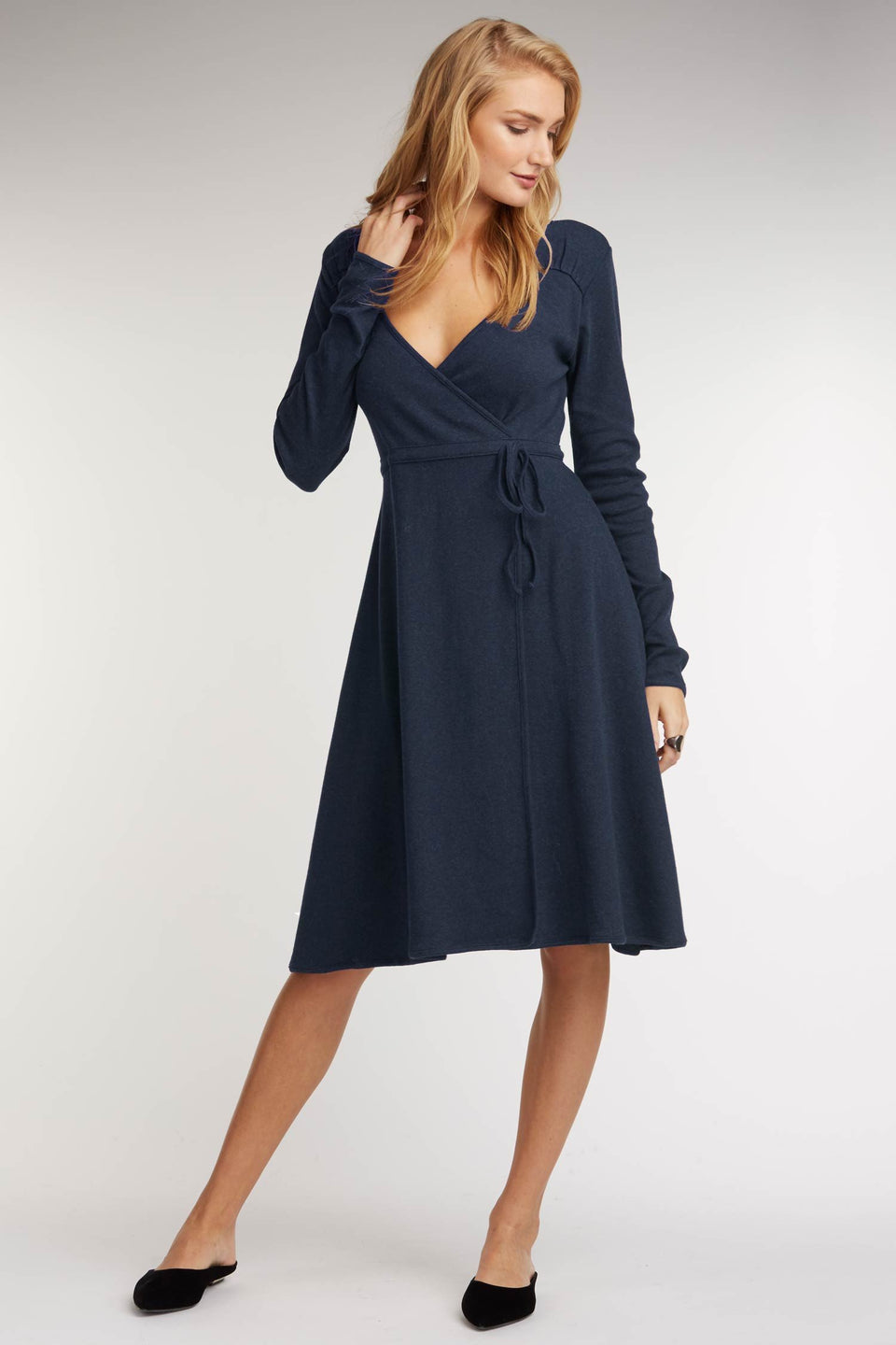 Ruched Tie Dress in Navy