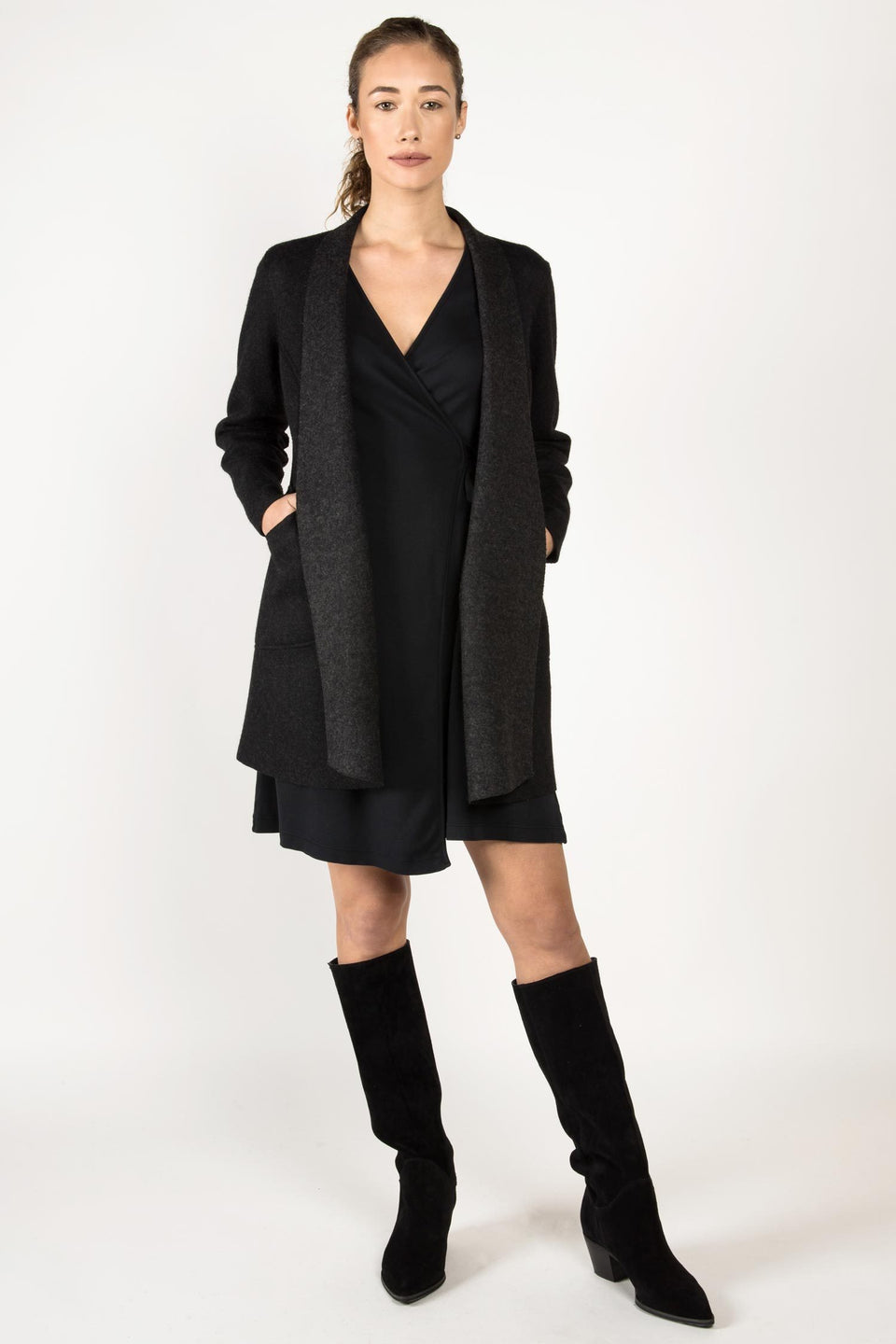 Alpaca Reversible Coat in Black Charcoal