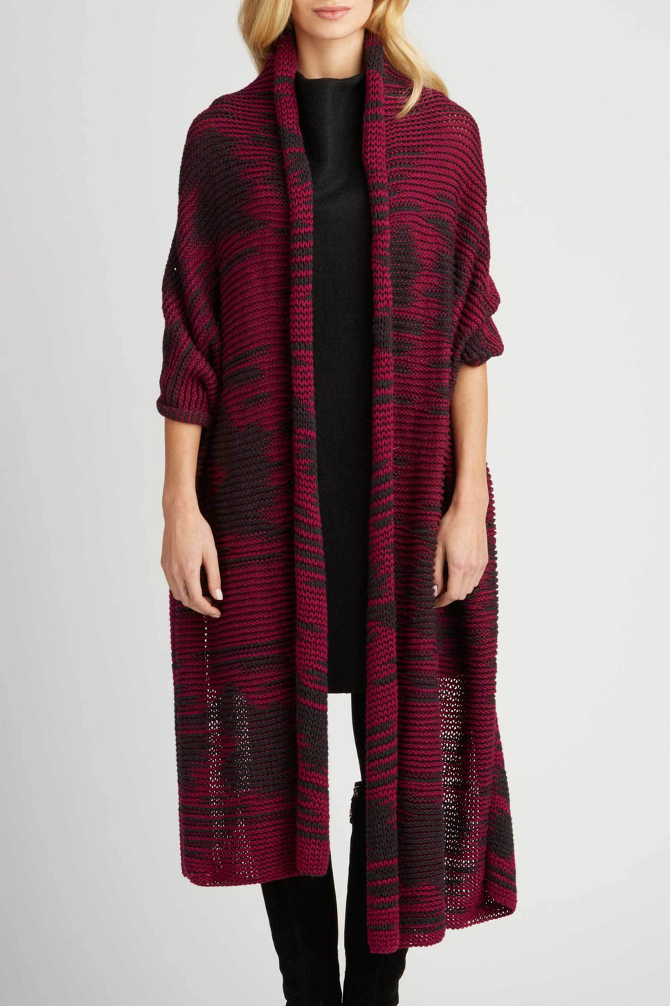 Amaru Knit Wrap in Winterberry and Charcoal