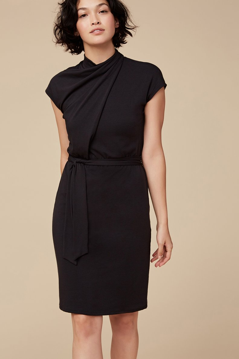 Amaryllis Mock Neck Dress in Black