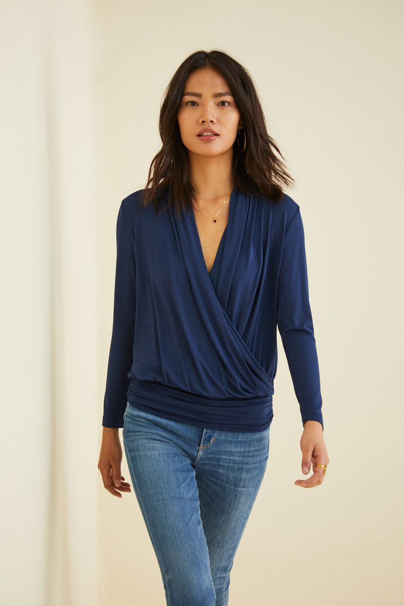 Angela Surplice Top in Navy