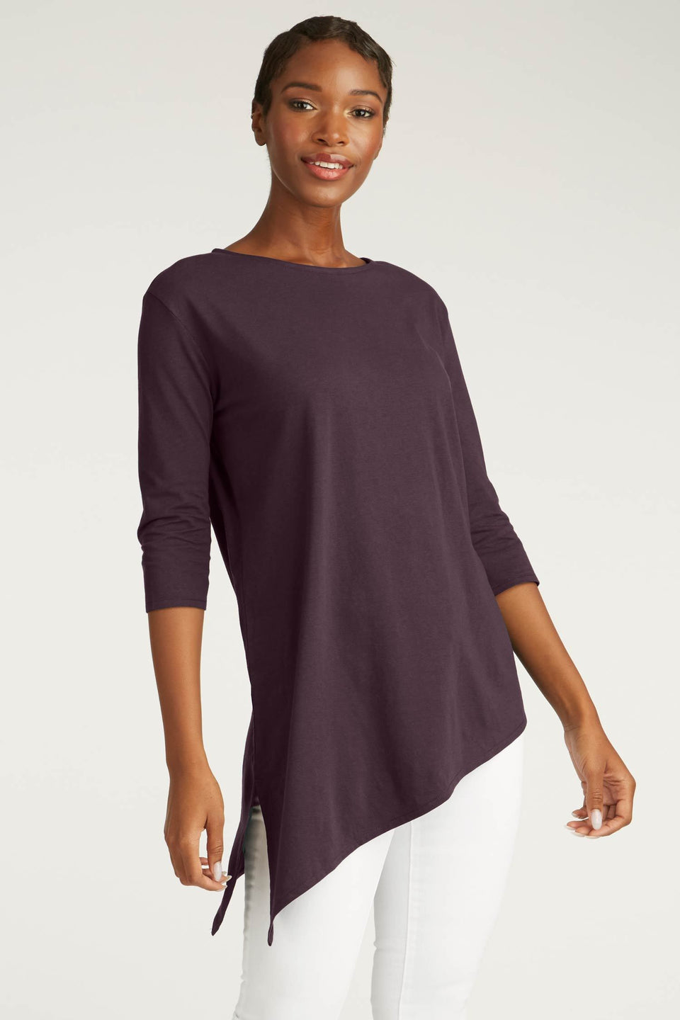 Asymmetrical Tunic in Plum