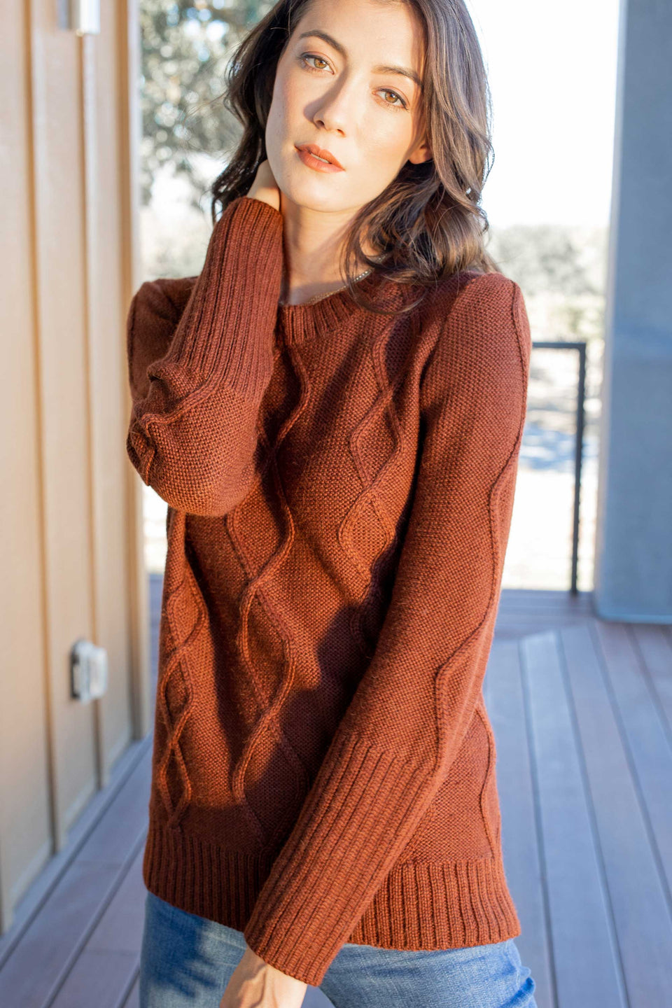Alpaca Cable Pullover in Autumn