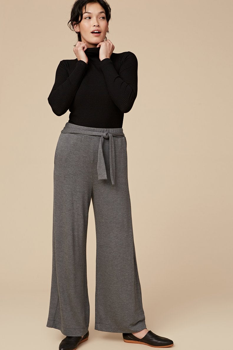 Wide Leg Sweater Knit Pants in Grey