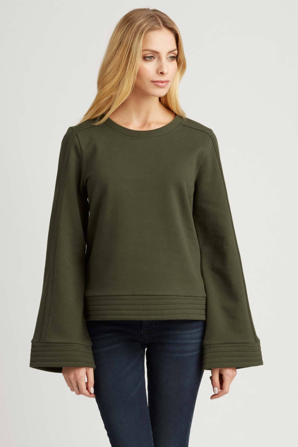 Bell Sleeve Pullover in Forest