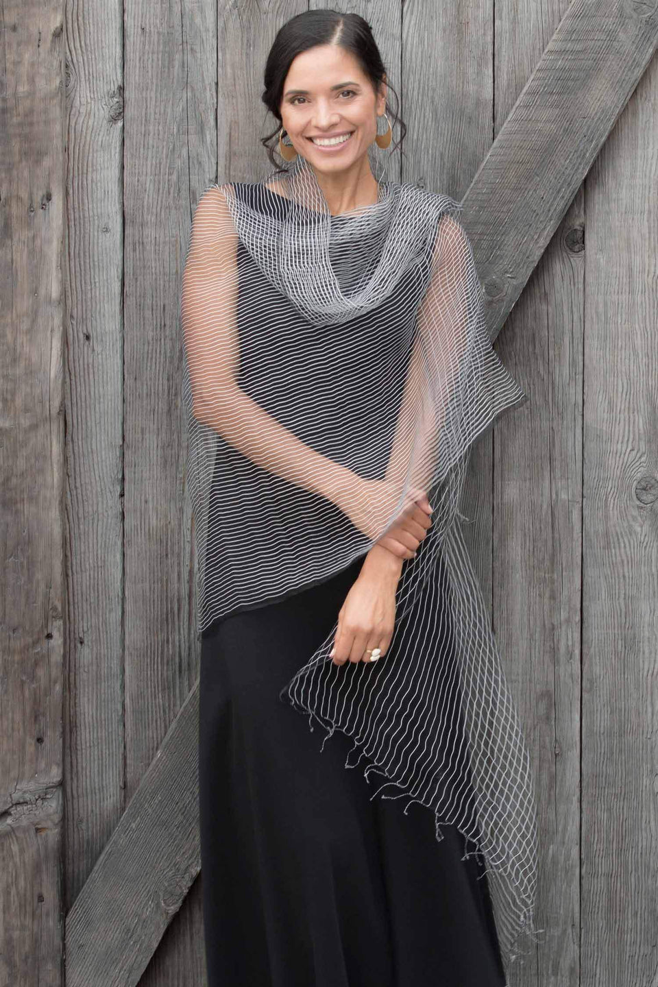 Silk Parallel Structure Scarf in Black and White