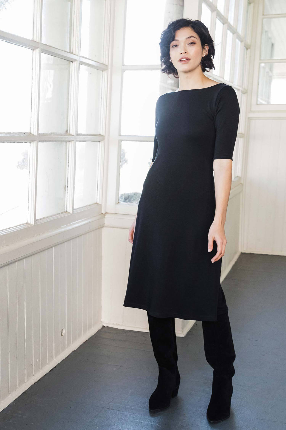 Essential Boatneck Midi Dress in Black
