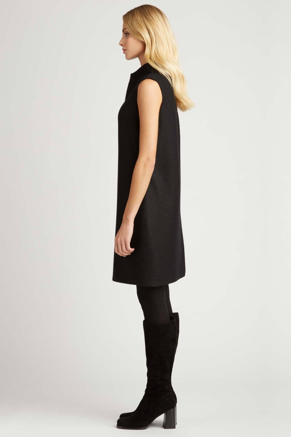 Boiled Wool Sleeveless Dress in Black