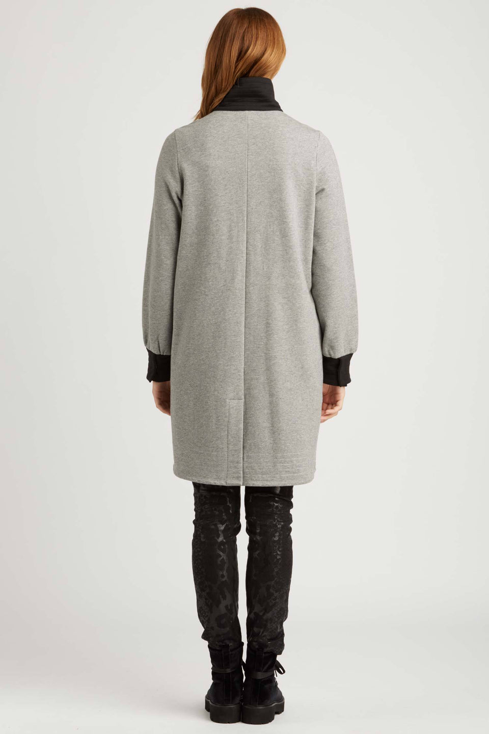 Long Fleece Bomber Coat in Gray