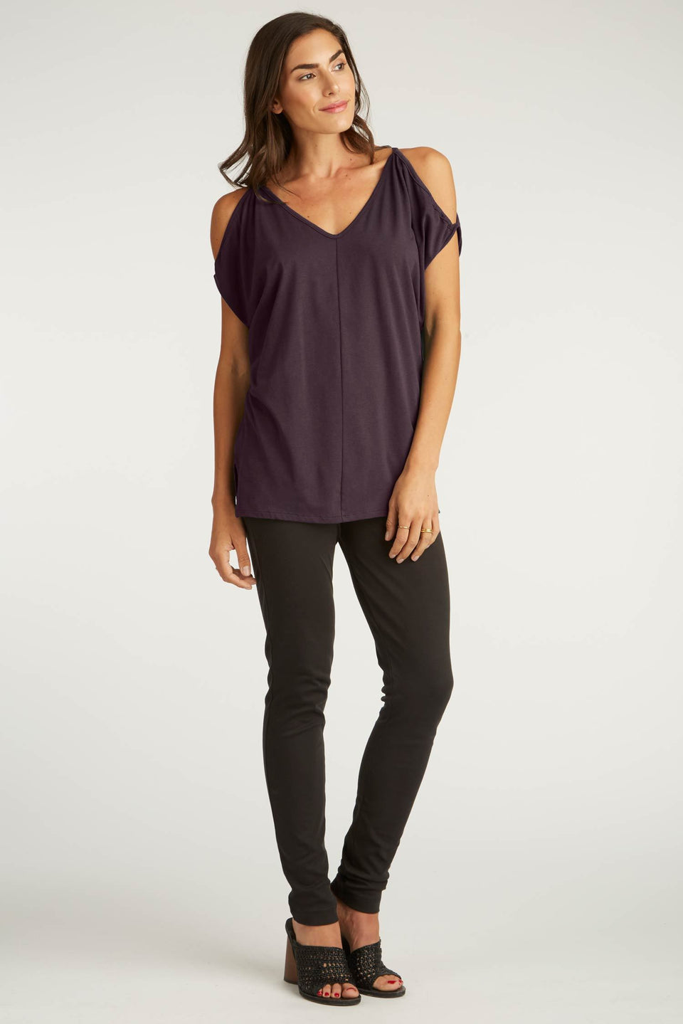 Cold Shoulder Top in Plum