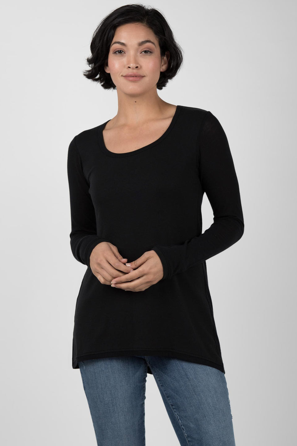 Crepe Scoop Tunic in Black