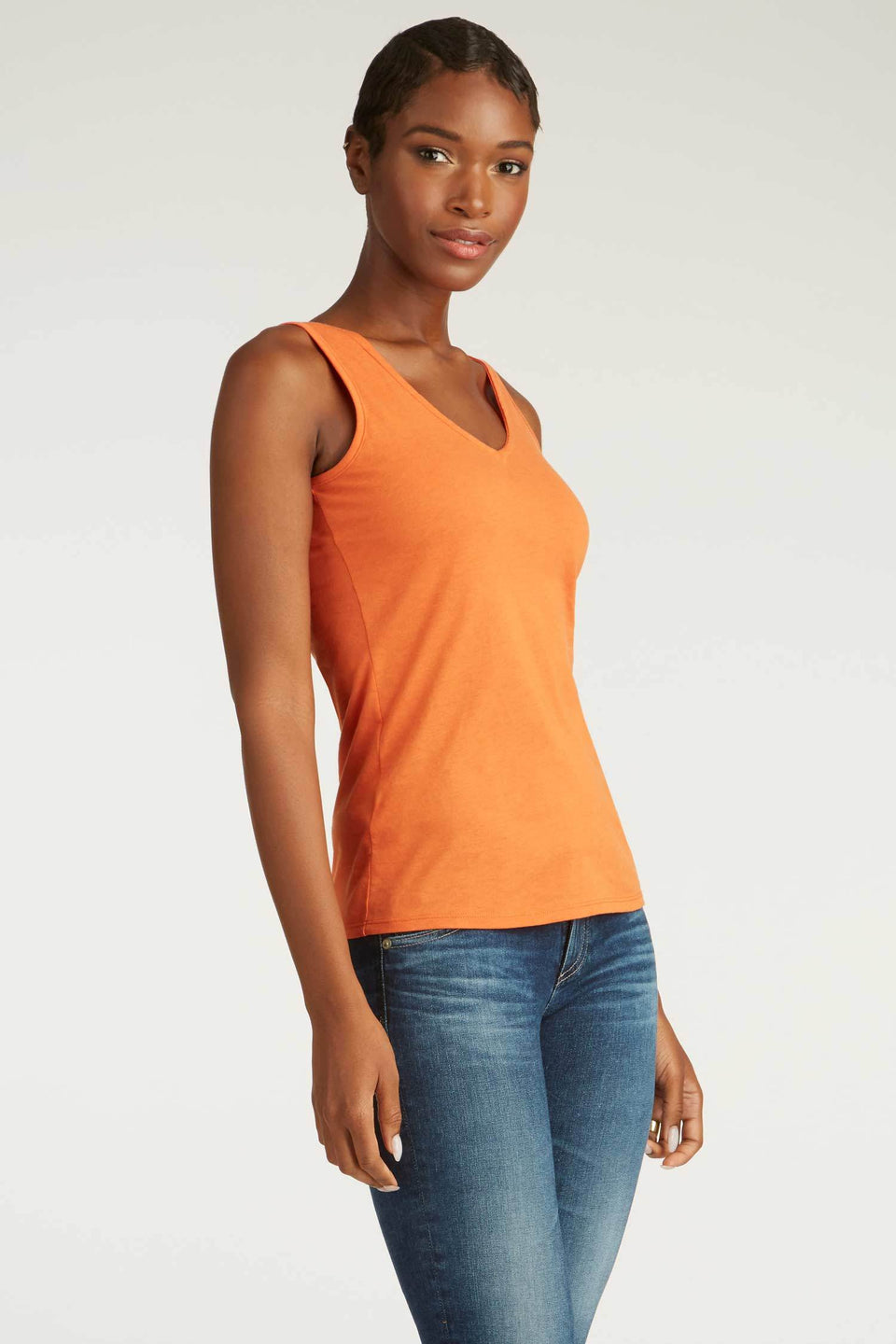 Crochet Back Tank in Papaya