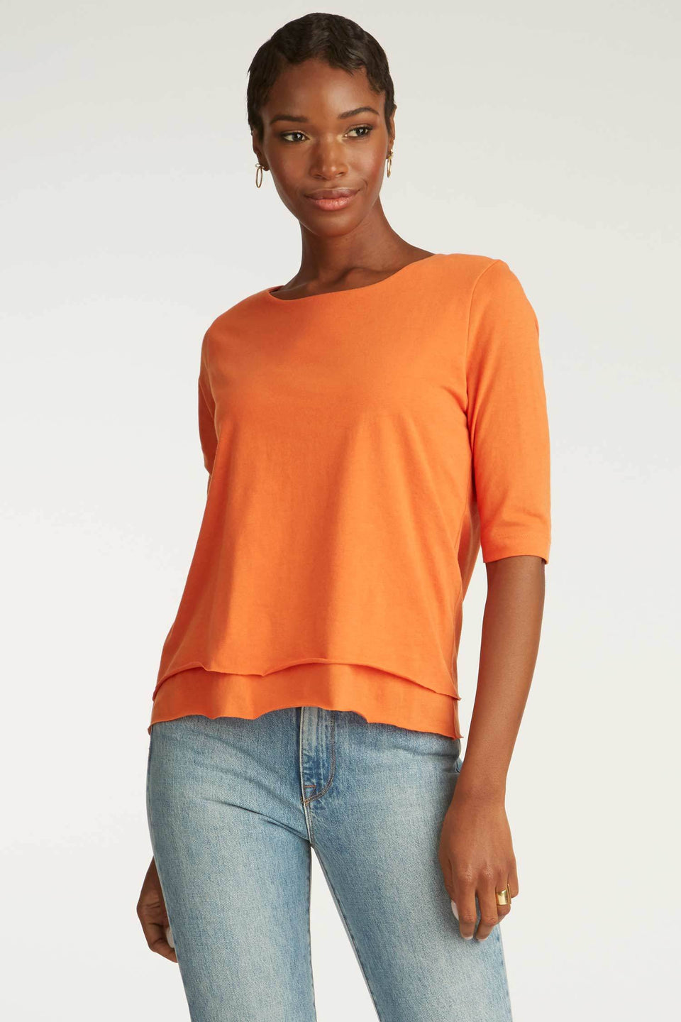 Double Layer Tee in Papaya