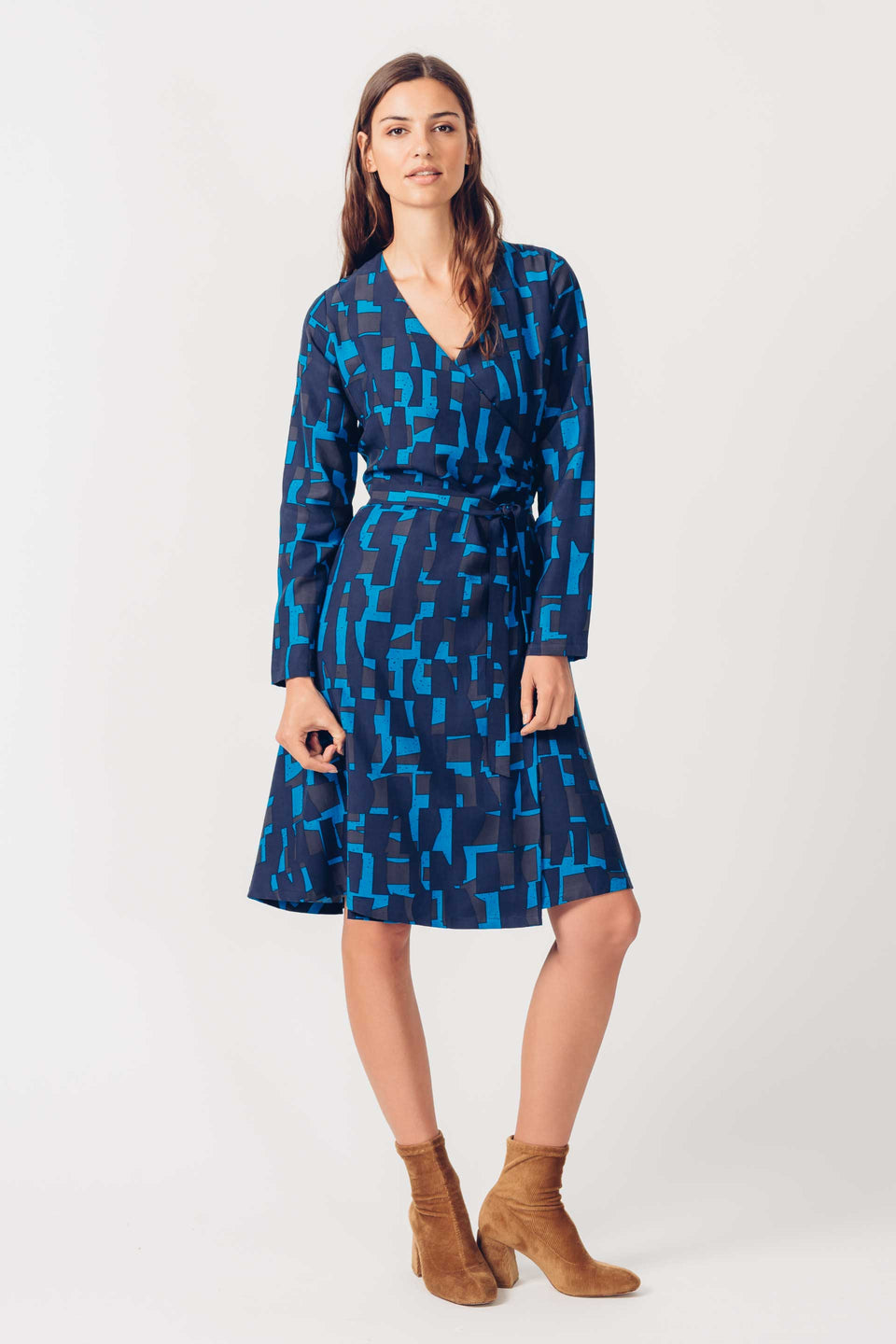 Mari Dress in Blue Print