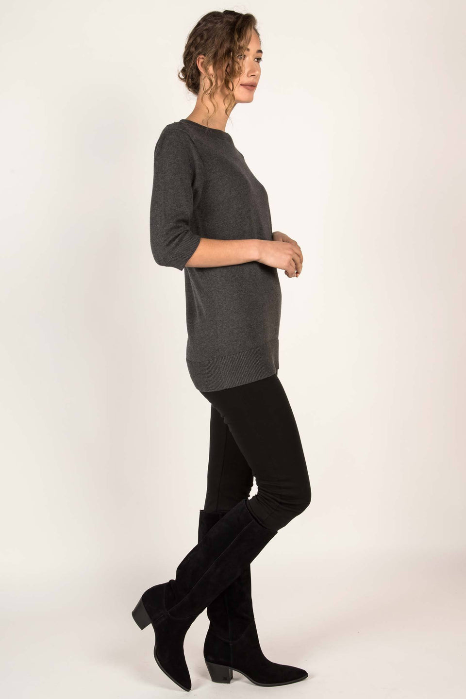 Elbow Sleeve Tunic in Charcoal