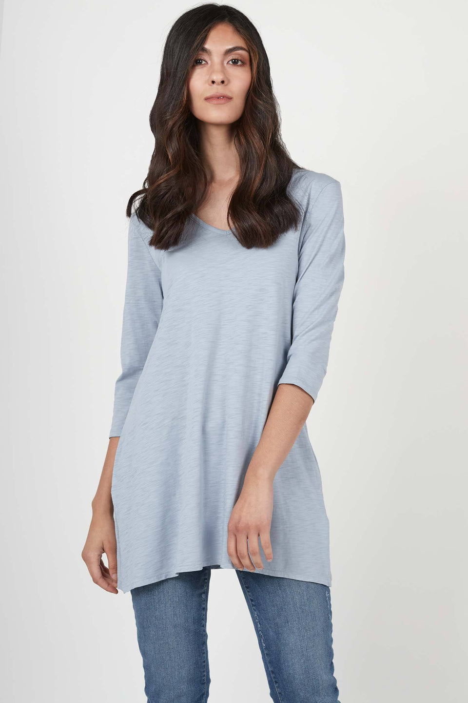 Essential Slub Tunic in Blue Fog