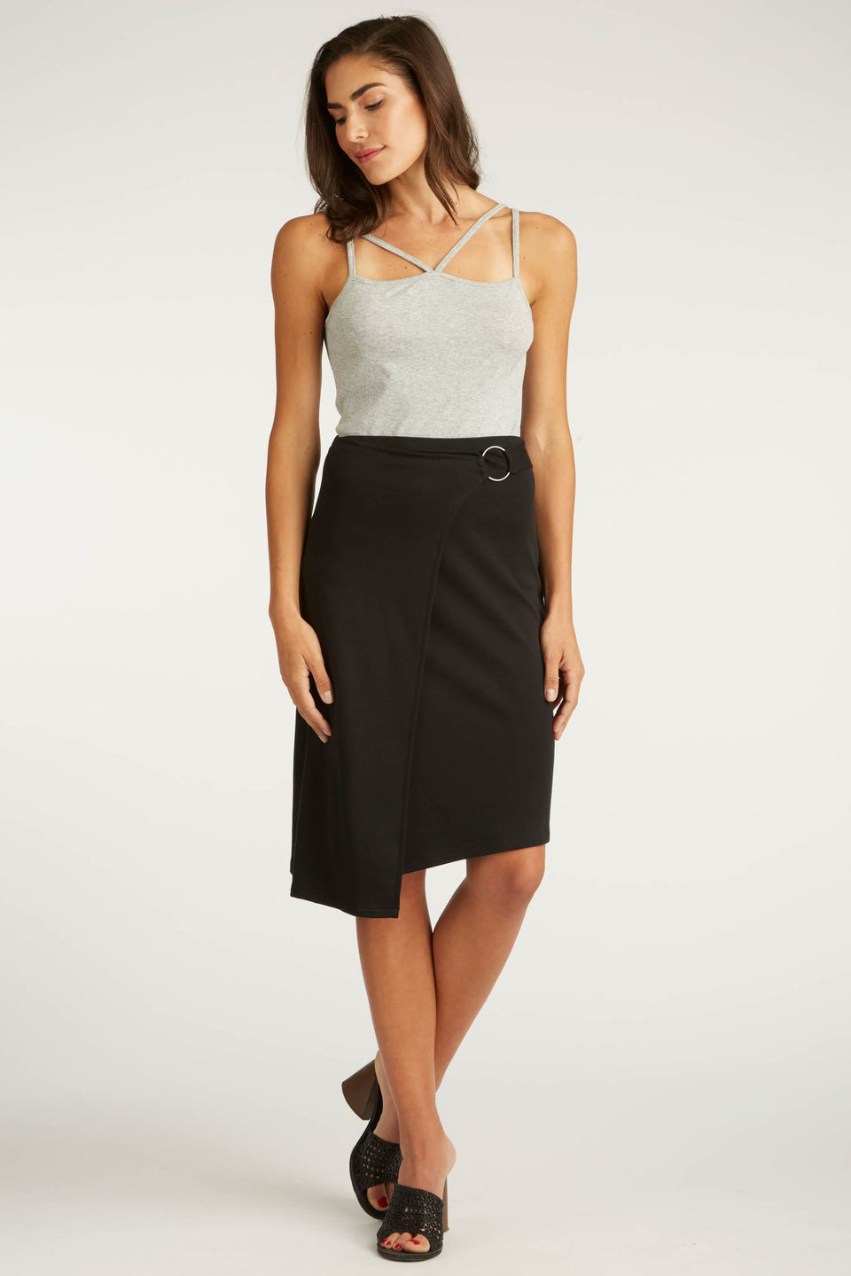 Faux Wrap Skirt in Black