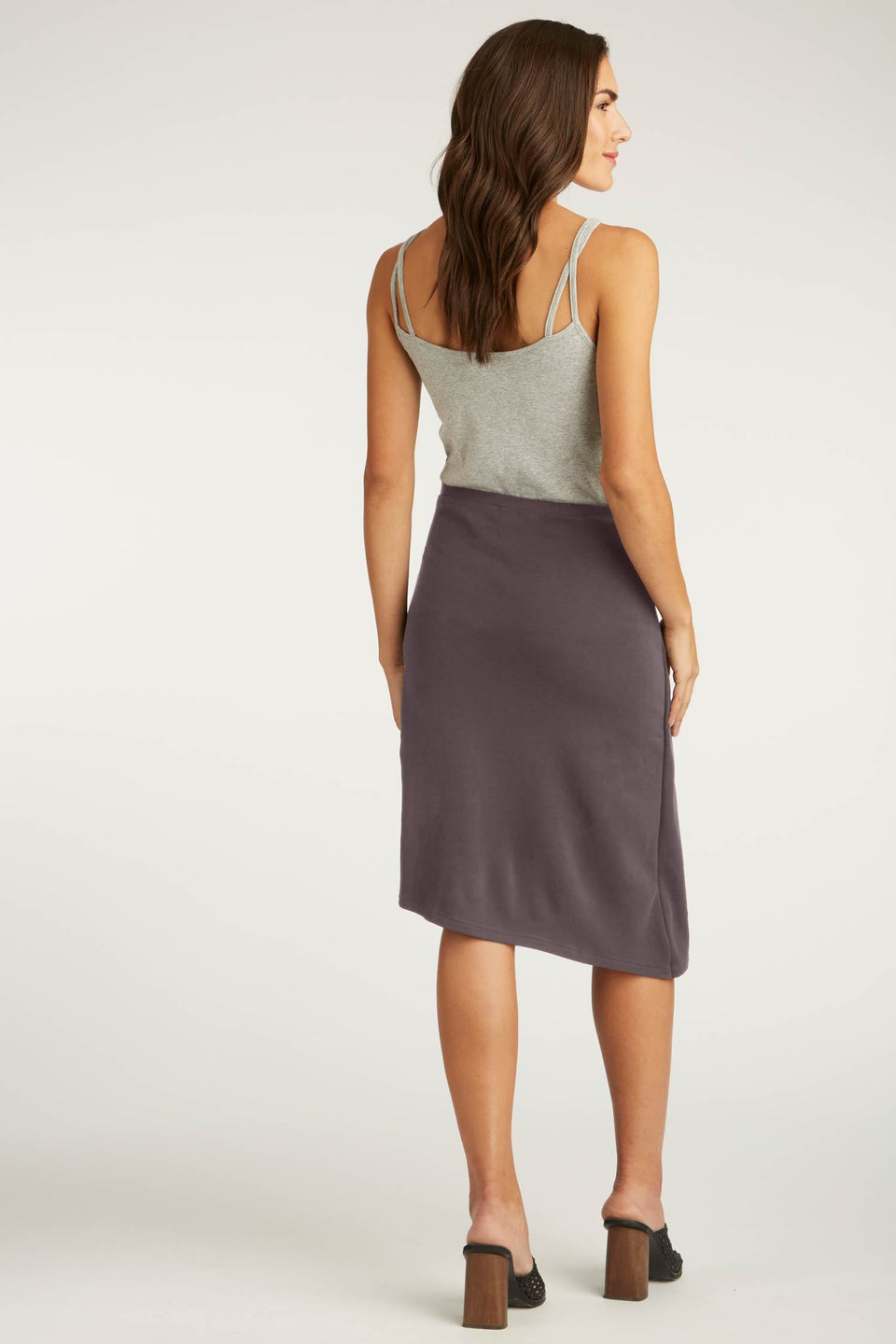 Faux Wrap Skirt in Granite
