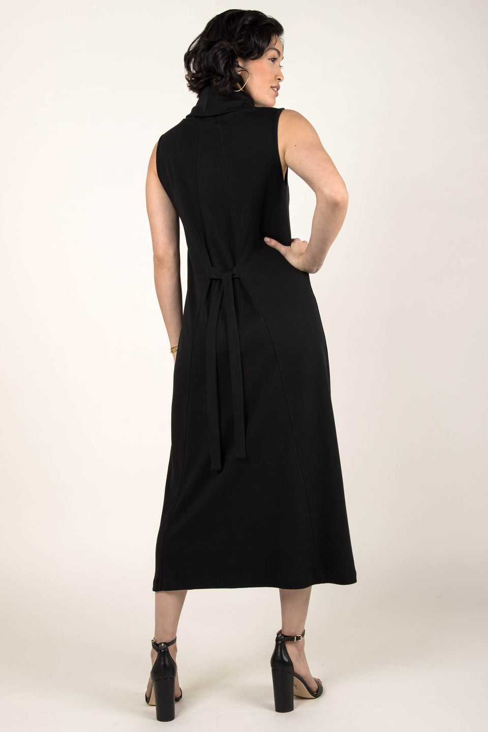 Foldover Cowl Neck Dress in Black