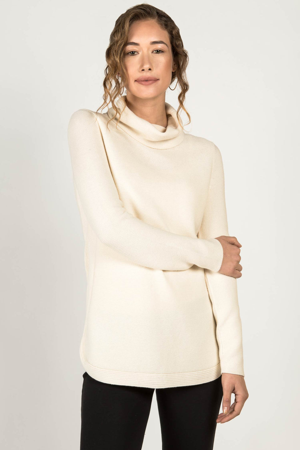 Funnel Neck Pullover Sweater in Ivory