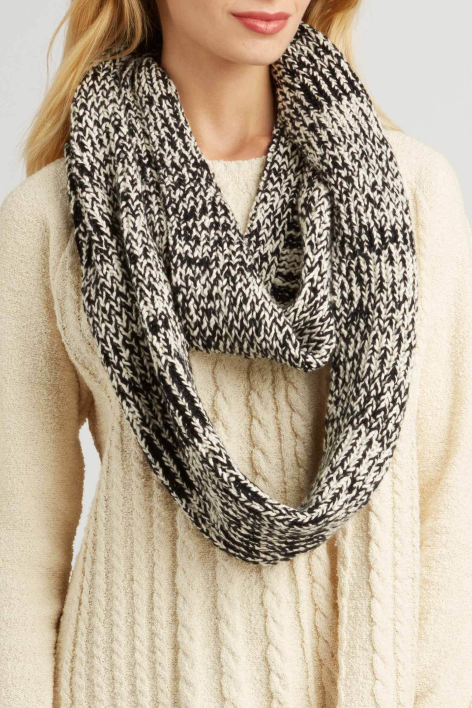 Luxe Infinity Scarf in Ivory and Black