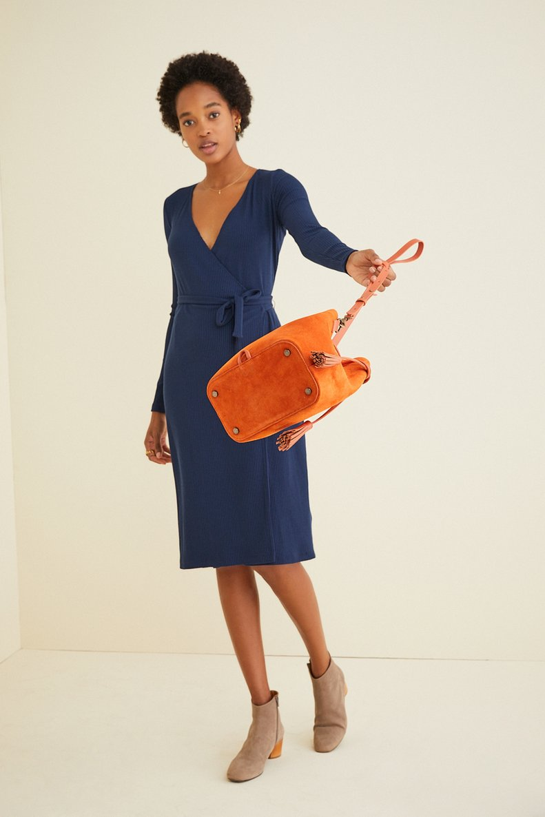 Kay Rib Dress in Navy
