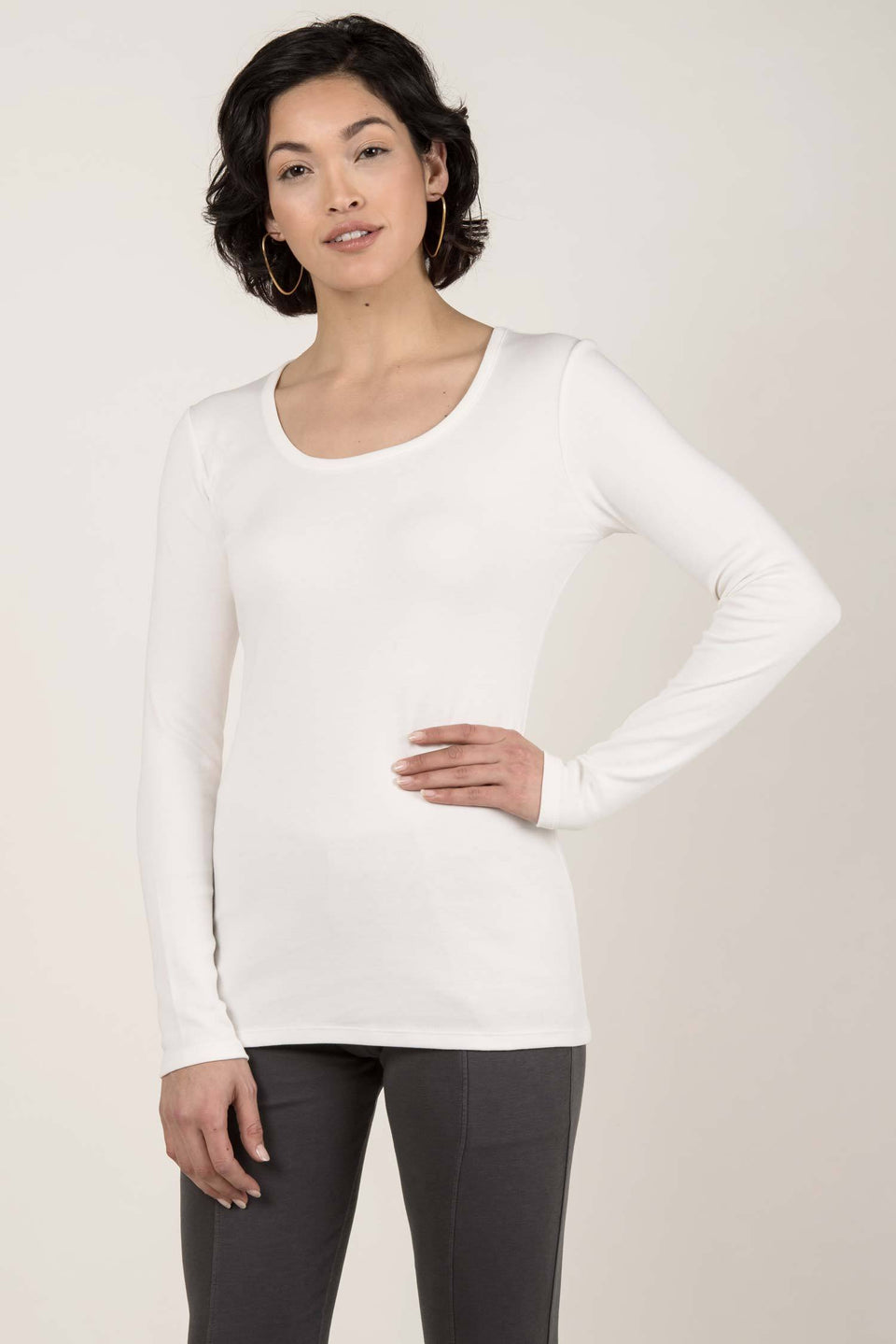 Essential Long Sleeve Scoop Tee in Ivory