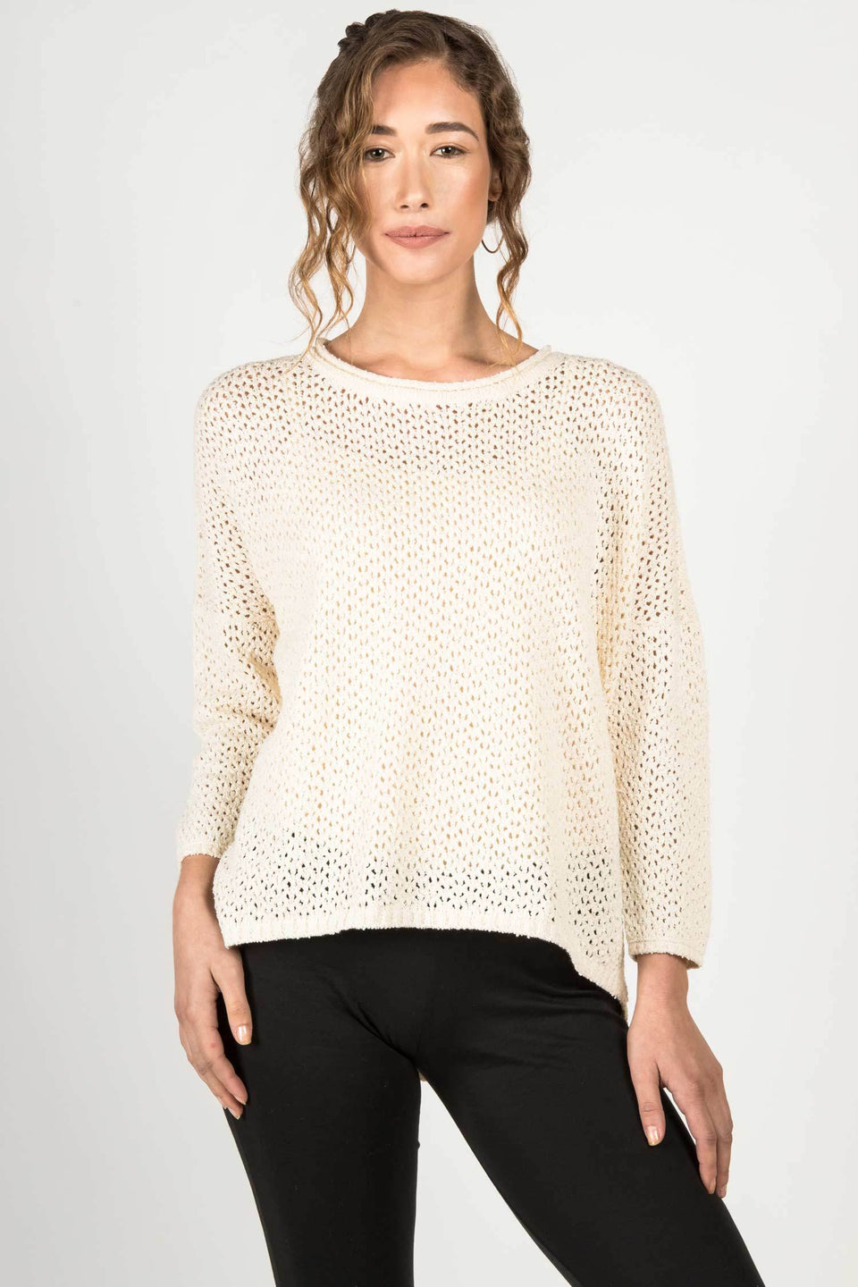 Boucle Mesh Pullover in Ivory