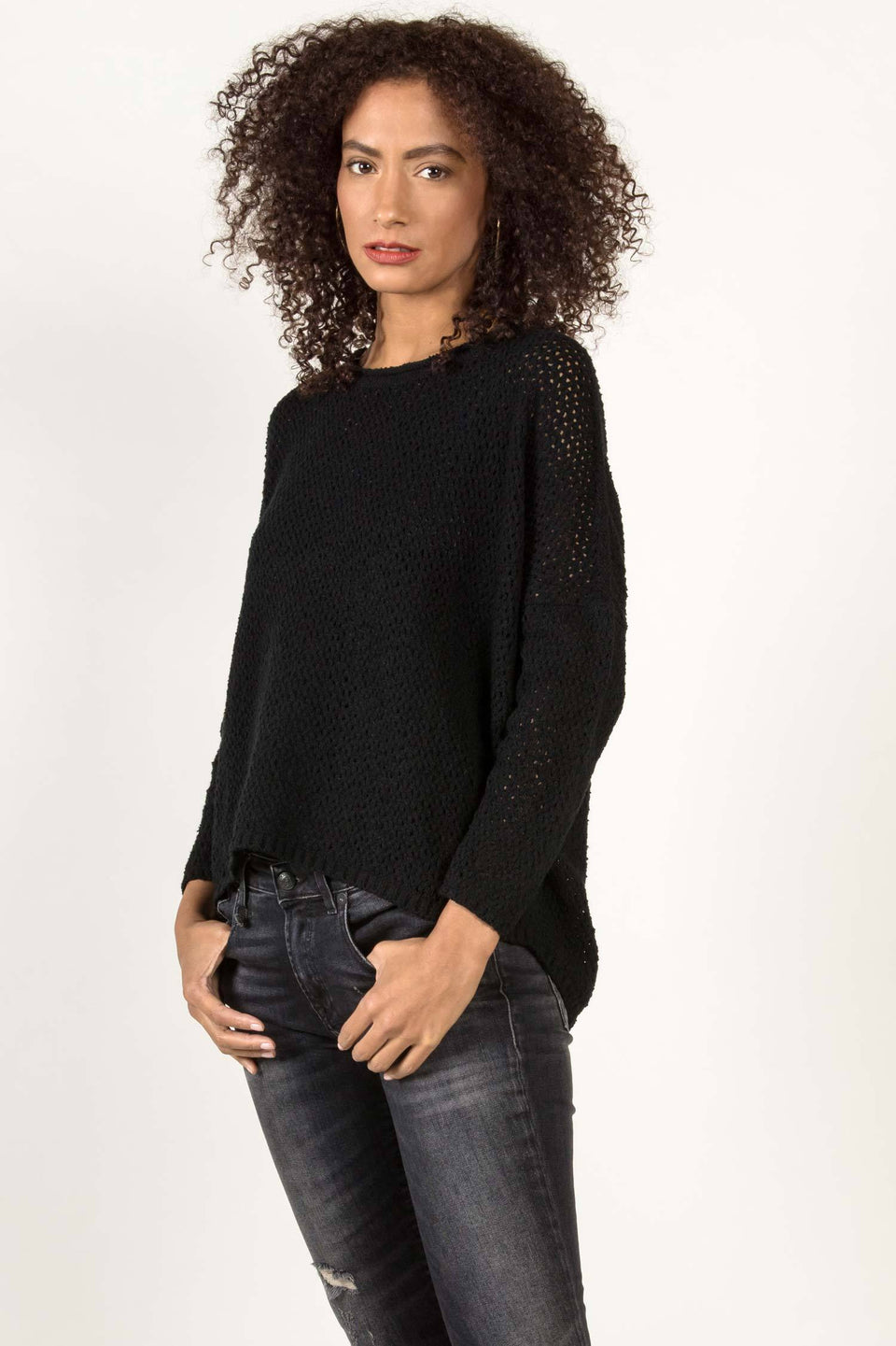 Boucle Mesh Pullover in Black
