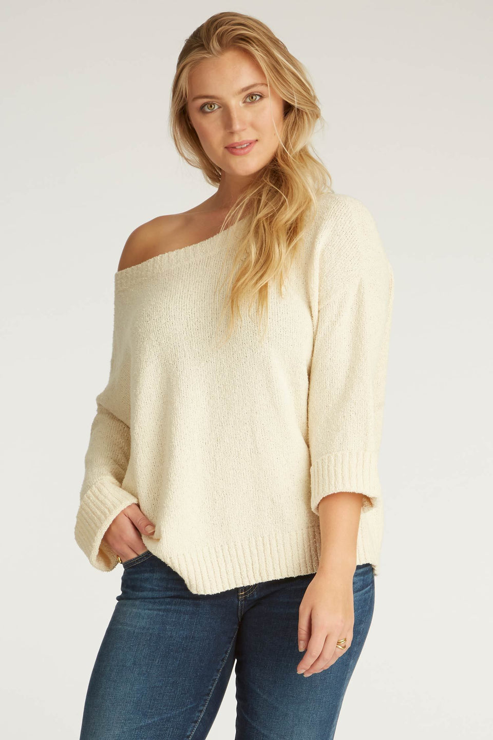 Off Shoulder Boucle Sweater in Ivory