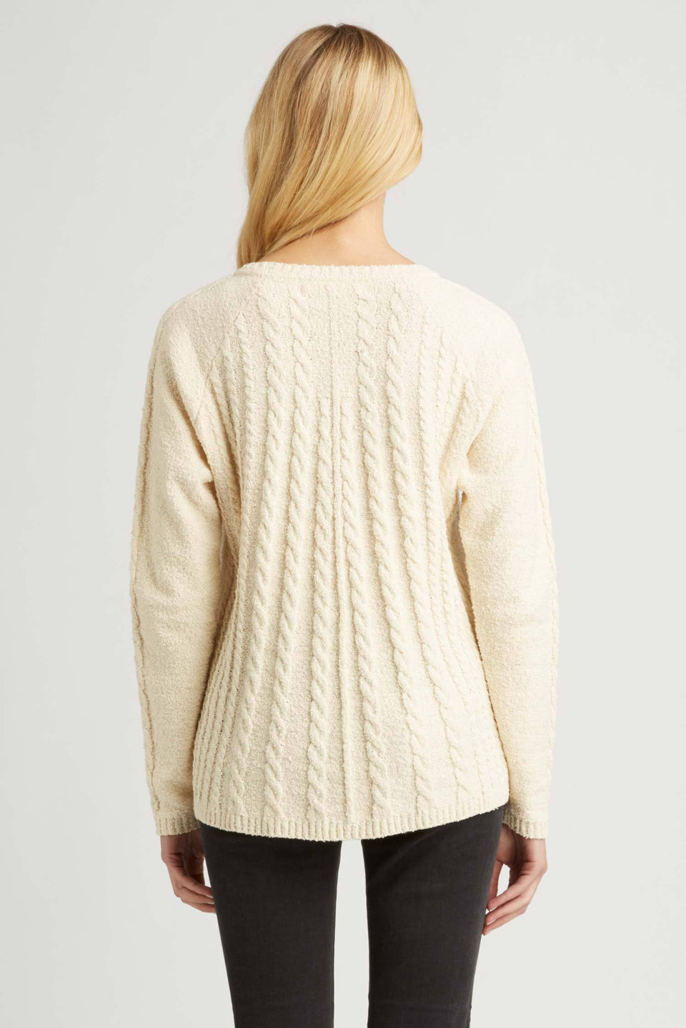 Raglan Cable Pullover in Ivory