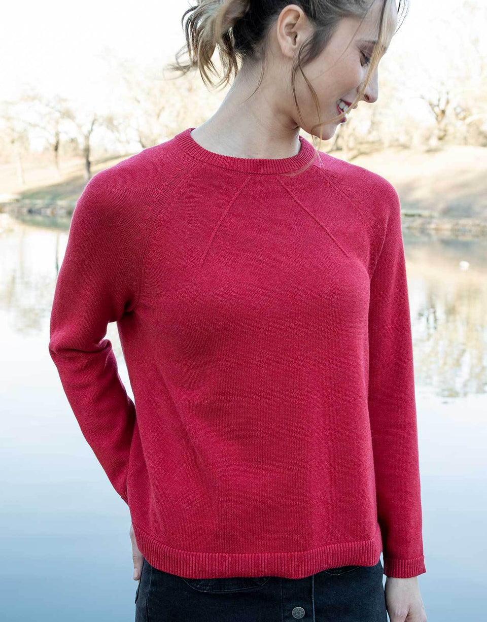 Lightweight Relaxed Sweater in Red