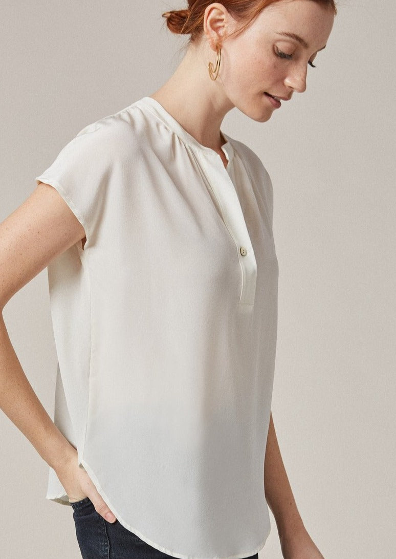 Renata Silk Blouse in Ivory