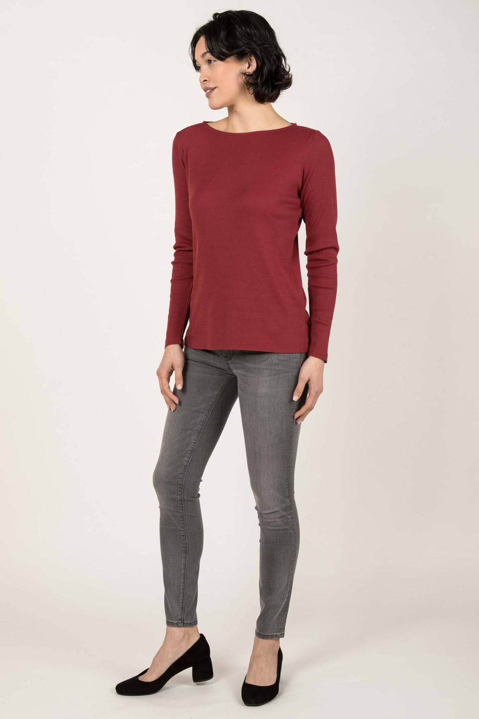 Rib Boatneck Tee in Cherry Red