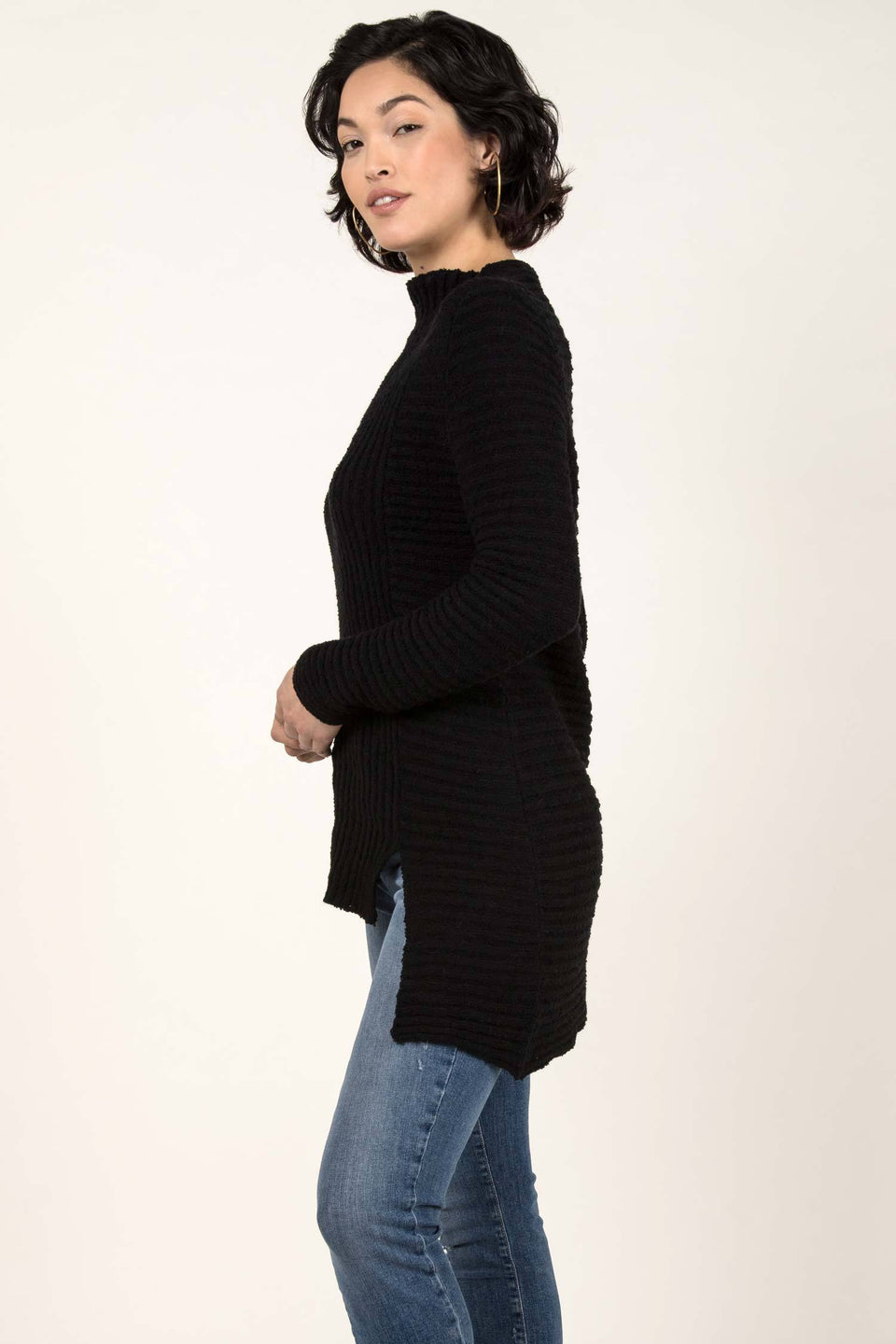 Boucle Rib Tunic in Black
