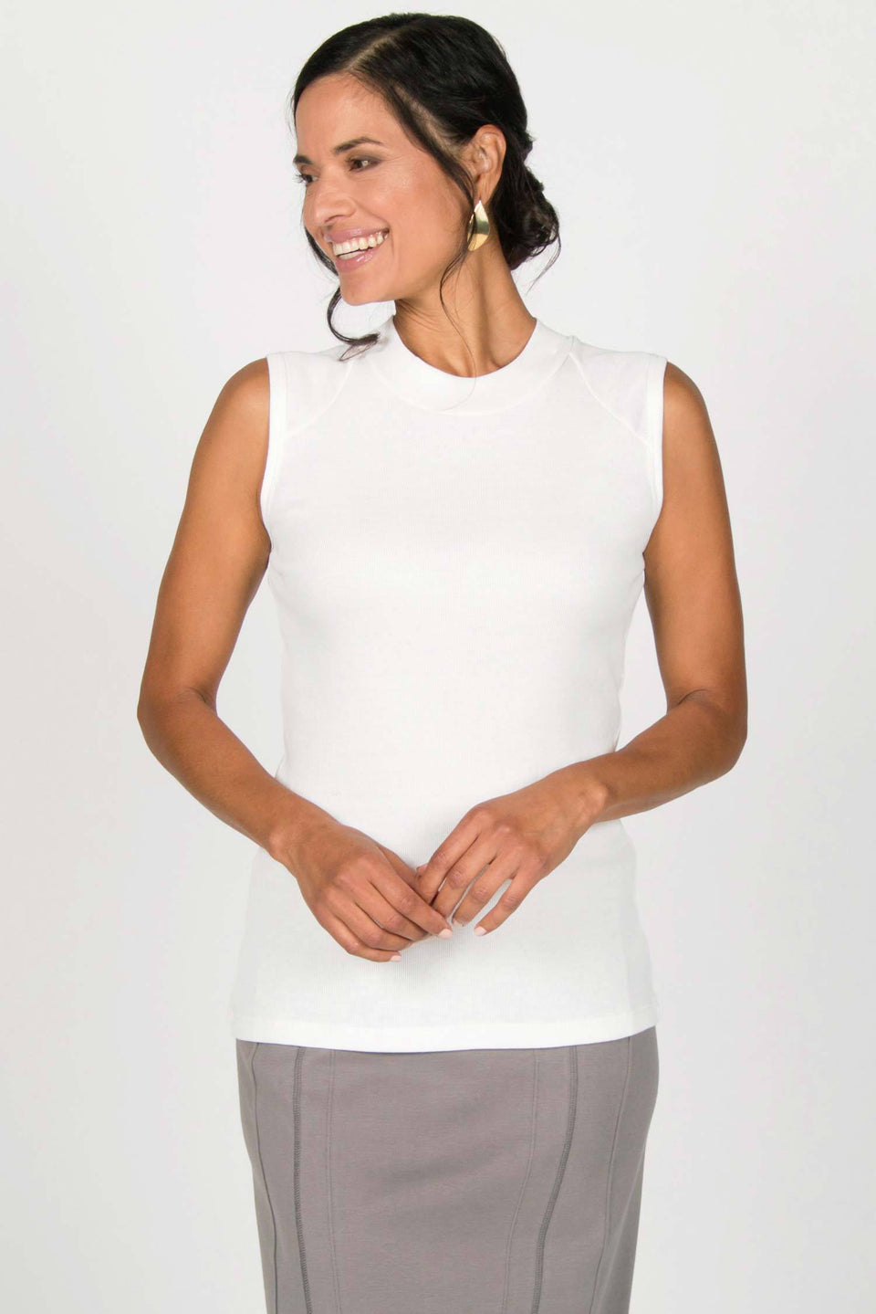Rib Mock Neck Tank in Soft White