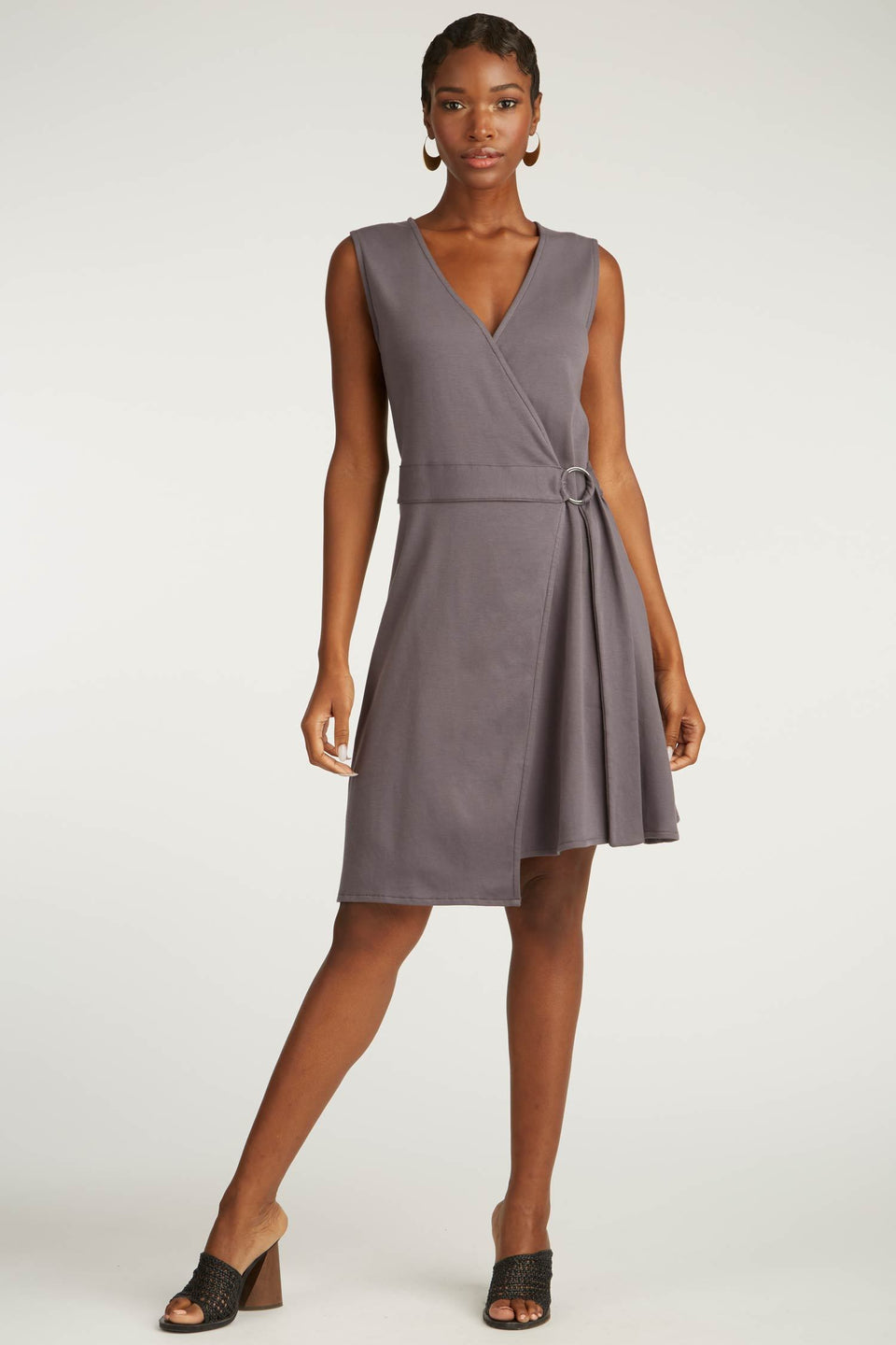 Ring Wrap Dress in Granite