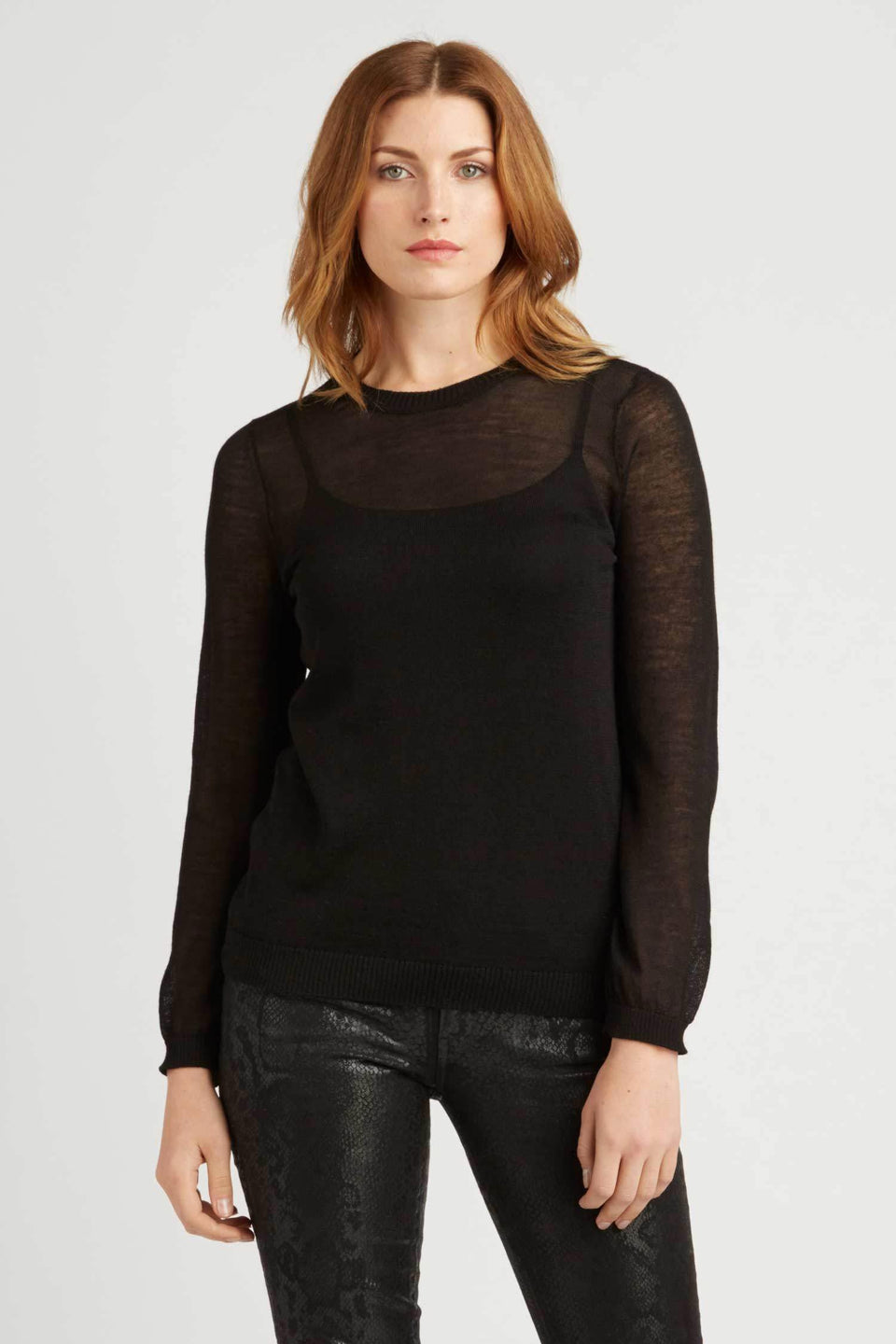 Sheer Alpaca Silk Crew in Black
