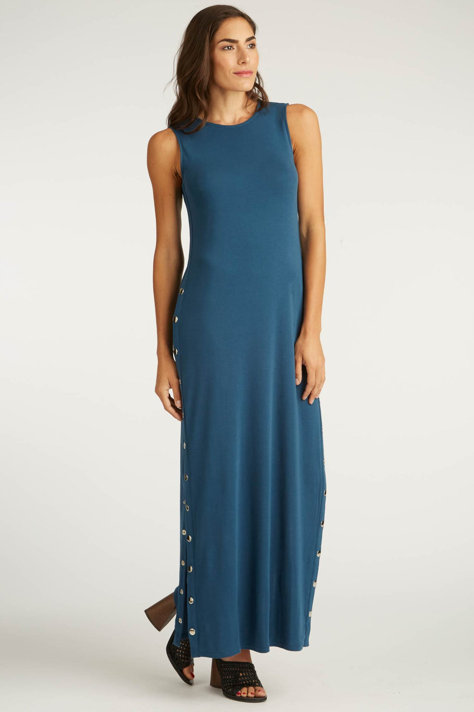 Snap Maxi Dress in Prussian Blue