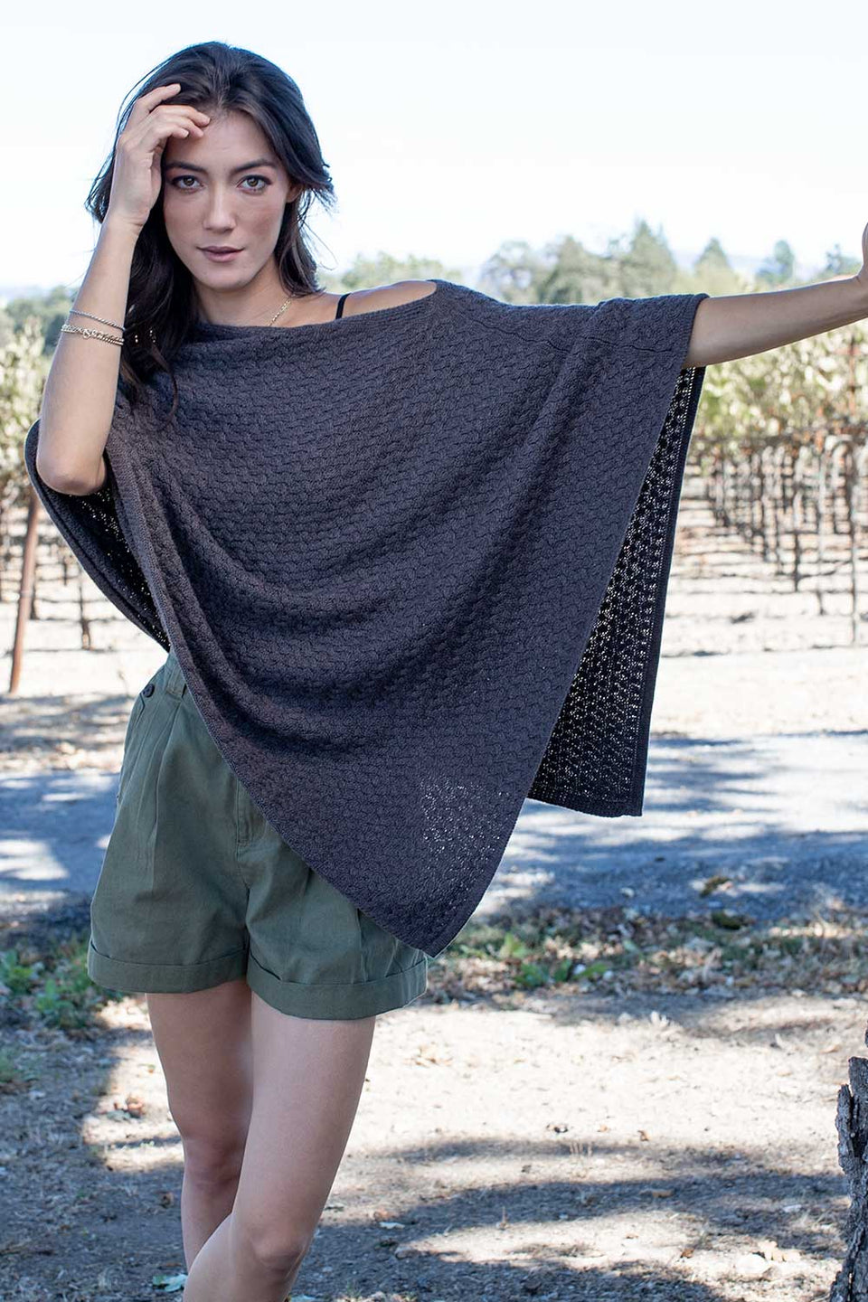 Lattice Stitch Poncho in Stone