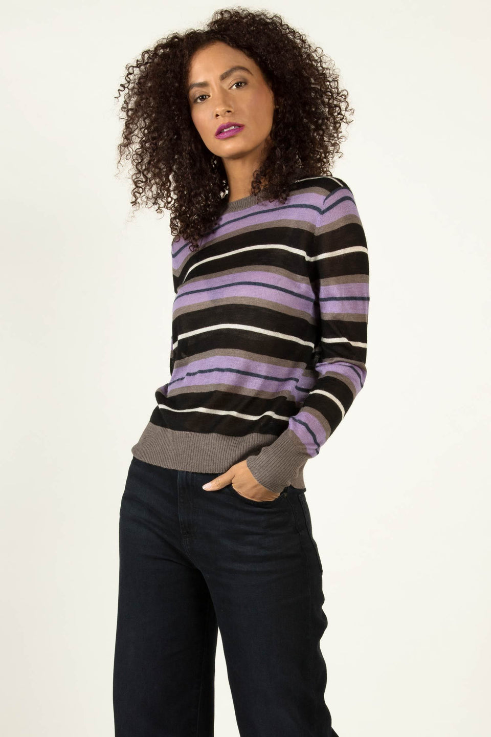 Silk Alpaca Stripe Crew in Black Multi