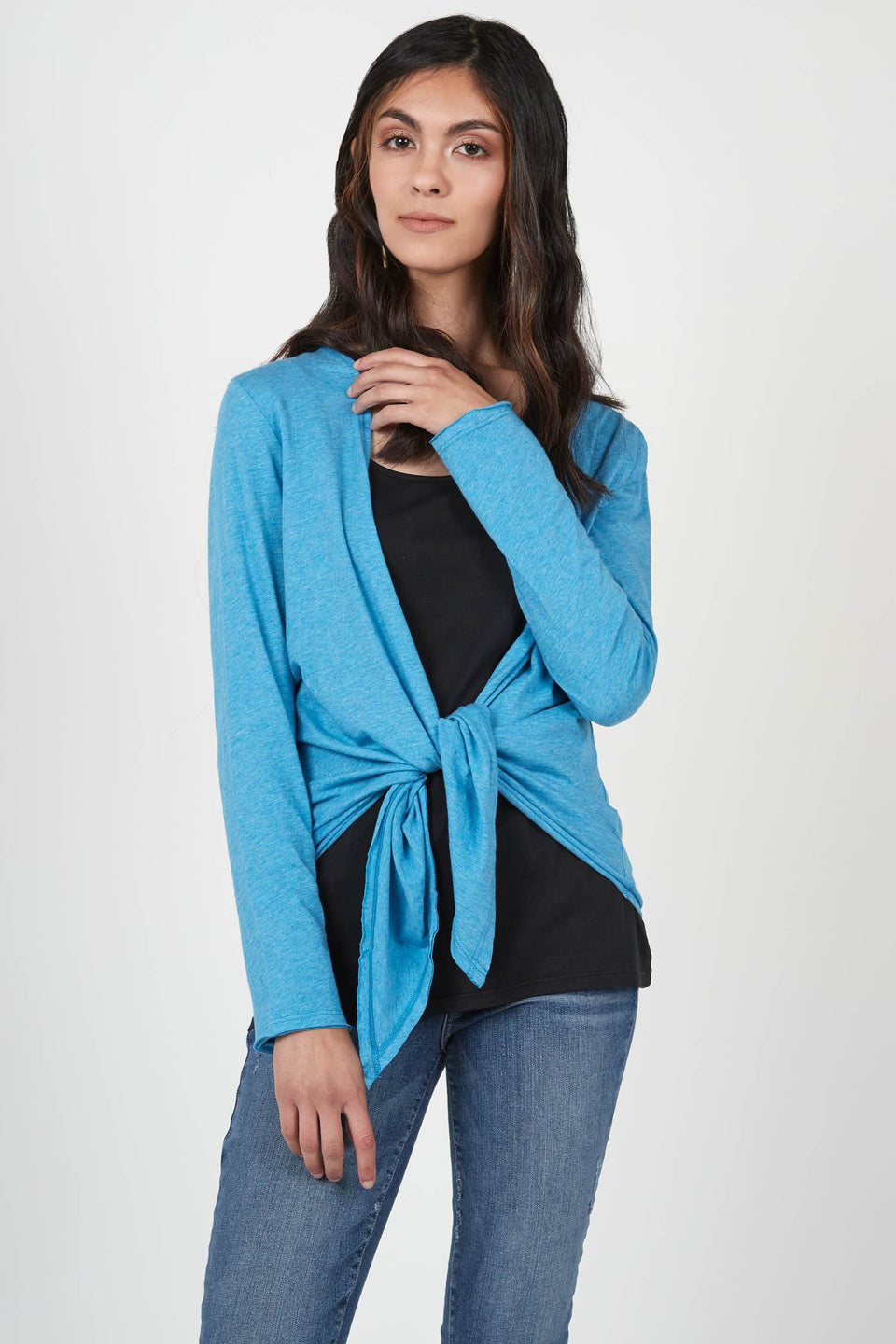 Tie Front Cardigan in Turquoise