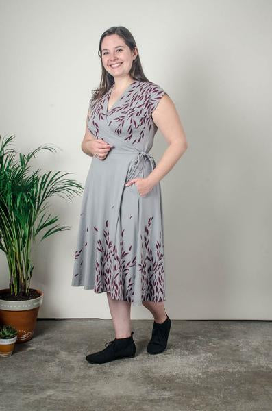 Mekong Wrap Dress in Grey with Willow
