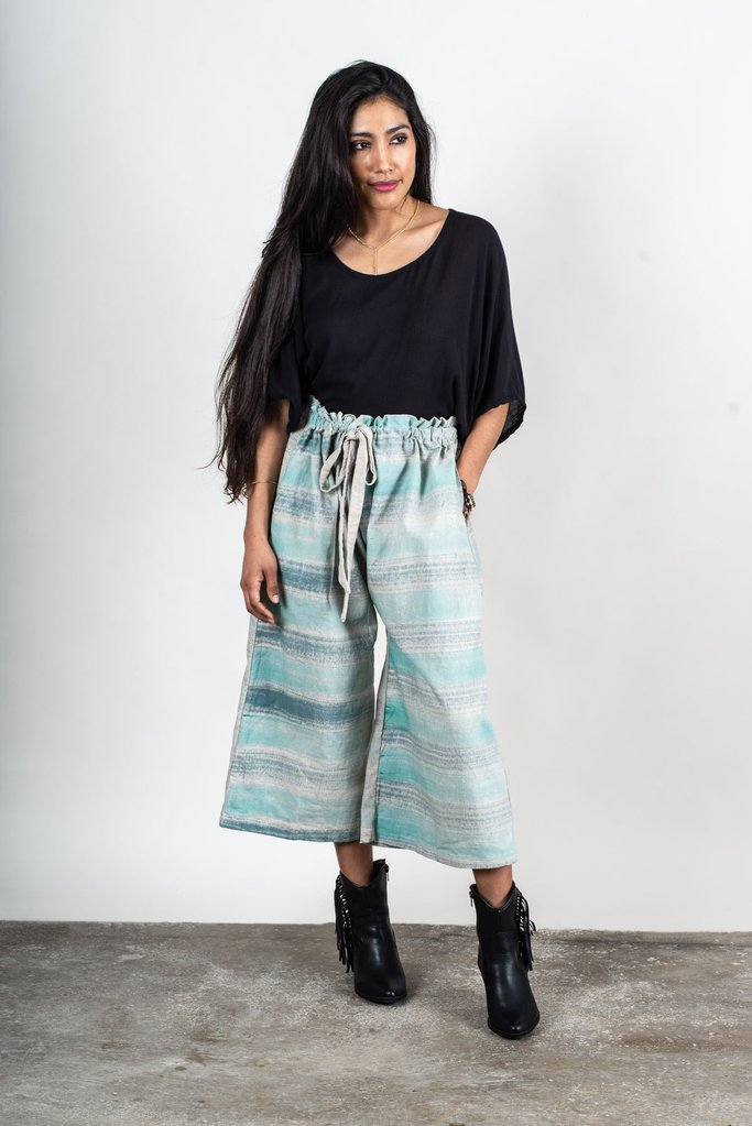 Srey Pov Culottes in Natural with Blue and Teal Stripes