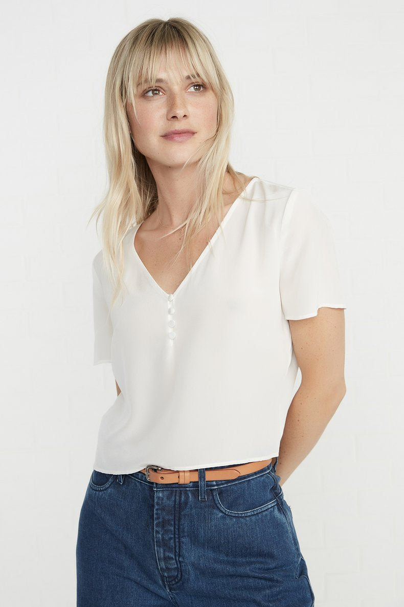 Willa Silk Blouse in Ivory