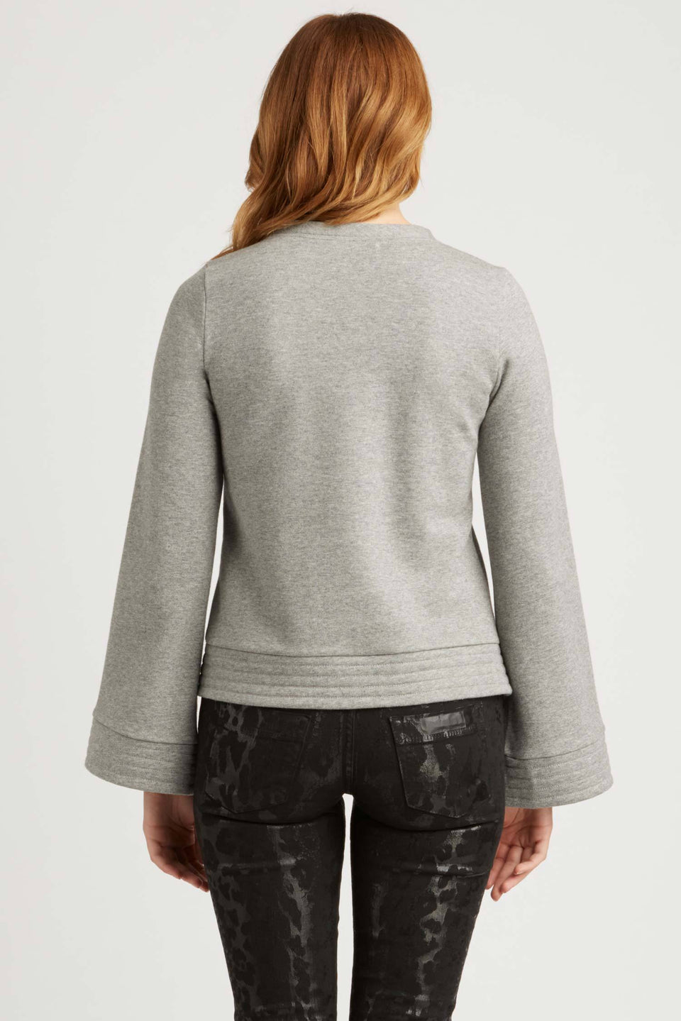 Bell Sleeve Pullover in Heather Grey