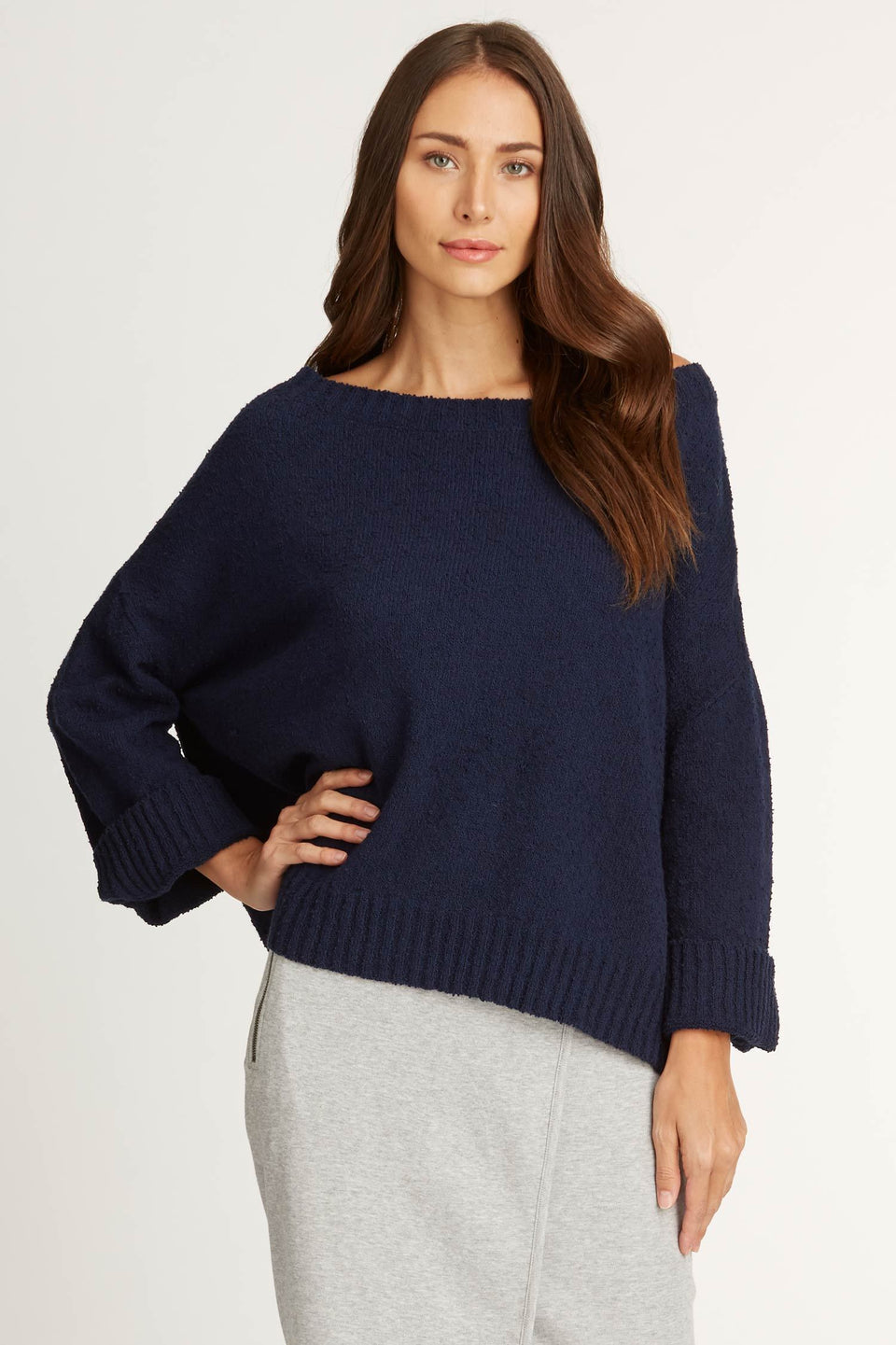 Off Shoulder Boucle Sweater in Navy