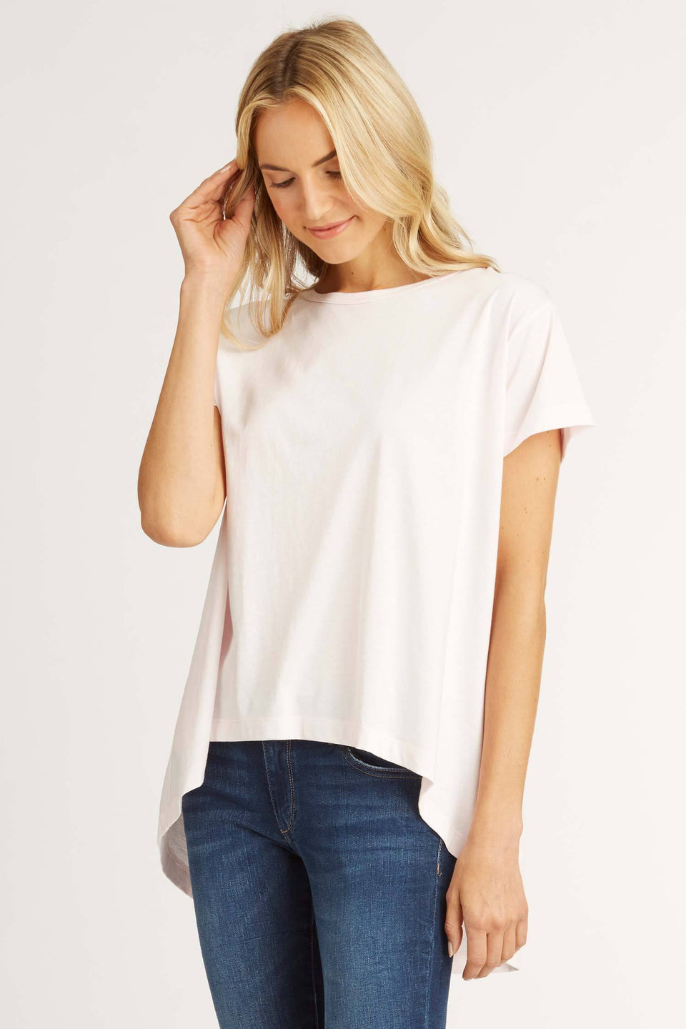 Relaxed High Low Tee in Tea Rose