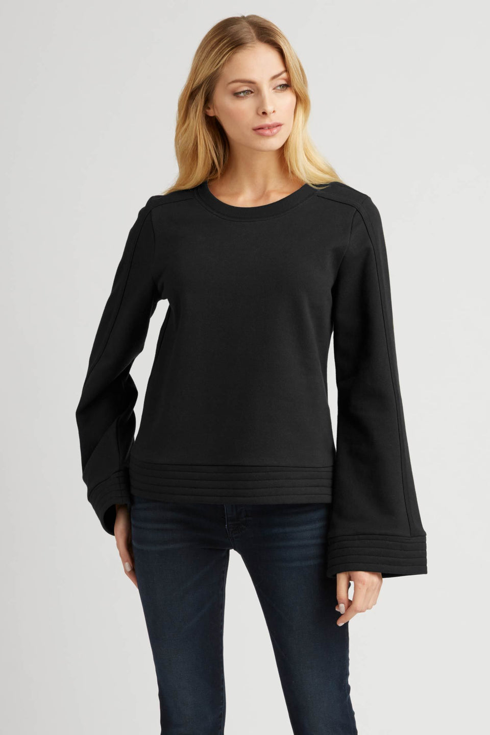 Bell Sleeve Pullover in Jet Black