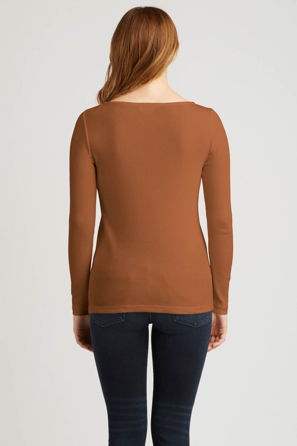Rib Boatneck Tee in Camel